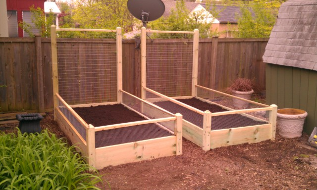 Two 3x8x2 Raised Garden Bed With 6 Foot Trellis