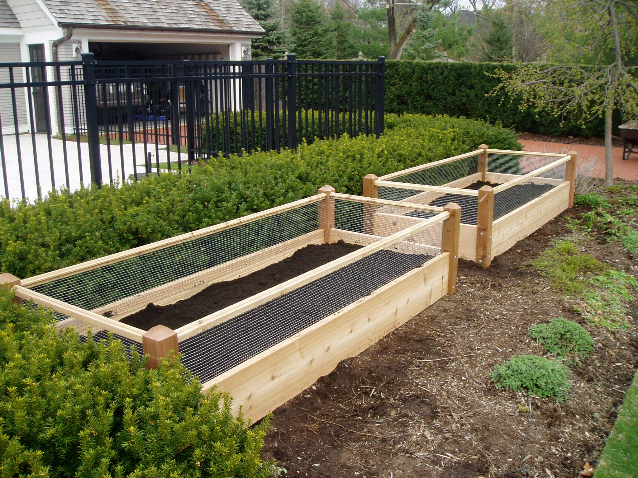 two raised garden beds with rabbit railing 3x8x2. Black Bedroom Furniture Sets. Home Design Ideas