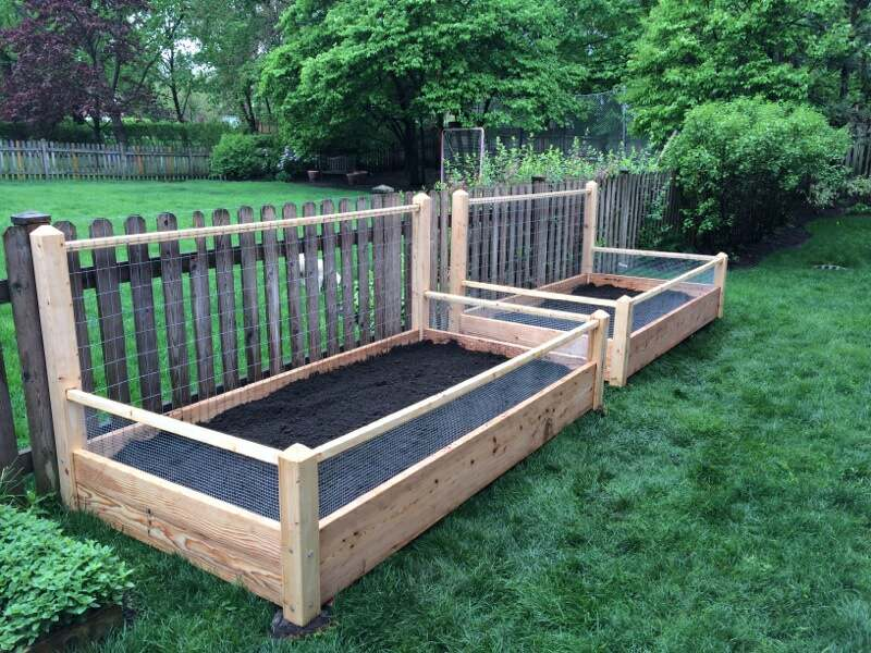 Three Raised Garden Beds With Trellis And Rabbit Railing 3x8x2